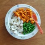 Barnmat med torsk och ärtor